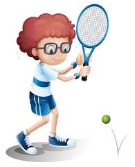 A boy with an eyeglass playing tennis