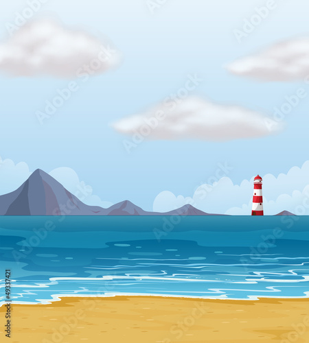 A light house and a beach
