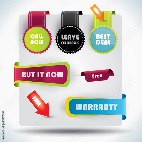Special offer, warranty labels and stickers