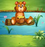 A bear sitting on a dry wood