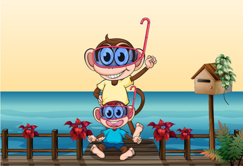 Monkeys wearing goggles