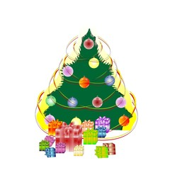 New Year's fir-tree with gifts, illustration