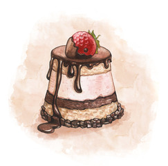 Illustration of a strawberry cake