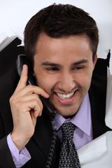 Happy man on phone
