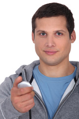 young man with stopwatch