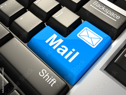 """Keyboard with """"mail"""" button 3d"""
