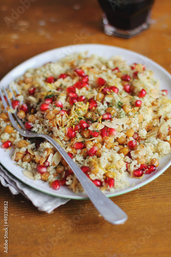 Portion of couscous salad with chickpea