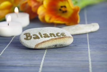 Balance-Stein mit Schrift