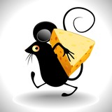 Topo con Formaggio-Cartoon Mouse with Cheese Clip Art
