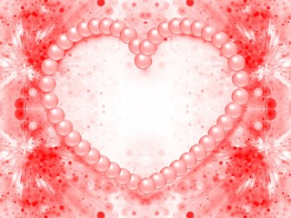 valentine day background with heart shape made from pearls