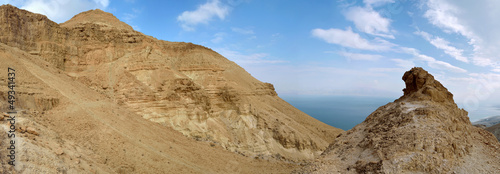 Judea desert and Dead Sea panoramic view.