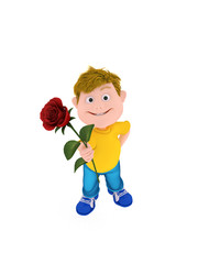 boy holding a red rose