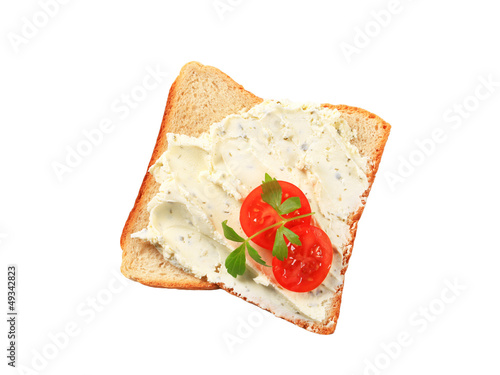 White bread with cheese spread