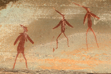 Bushmen rock painting depicting human figures