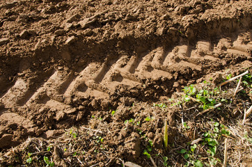 tractor mark trail soil agriculture field