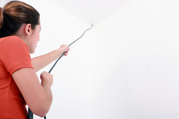 Woman pulling cable