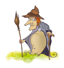 Old witch with broom