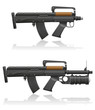 machine gun with a short barrel and grenade launcher vector illu