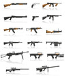 weapon and gun set collection icons vector illustration - 49344090