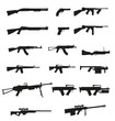 weapon and gun set collection icons black silhouette vector illu