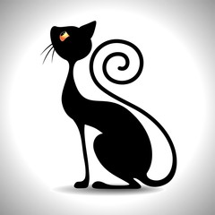 Gatto Nero Art Deco - Black Cat Vintage Art Design-Vector