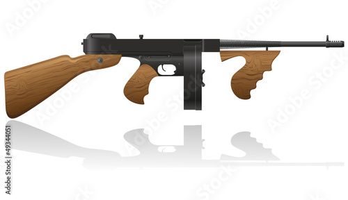 gangster gun Thompson vector illustration