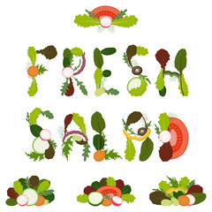 Fresh salad written with sliced vegetables and salad leaves