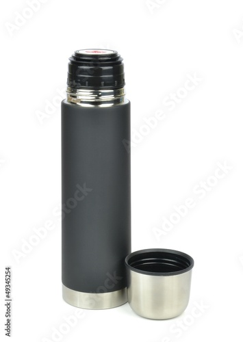An unbreakable thermos flask on a white background
