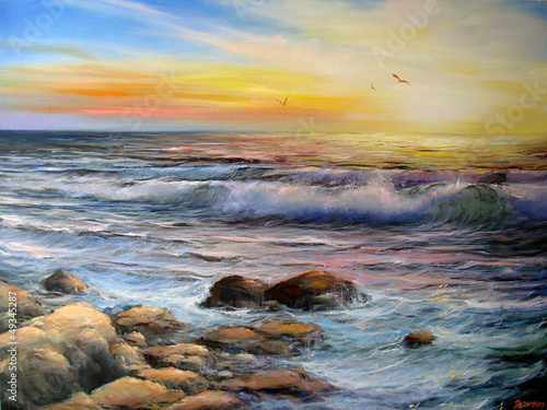 Obraz w ramie Seascape Surf at sunrise