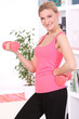Beautiful middleaged woman doing fitness