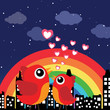 Birds in love at night with rainbow