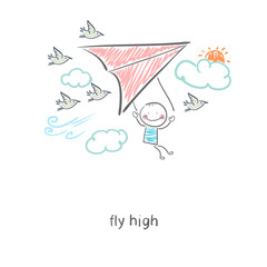 Man flying a hang glider