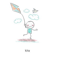 A man with a kite. Illustration.