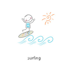 Surfer. Illustration.
