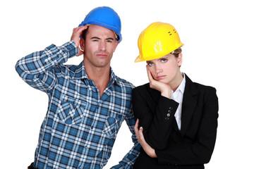 Annoyed construction worlers