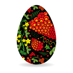 Easter egg painted by Khokhloma pattern