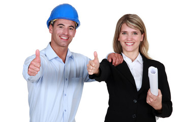 Architect and colleague giving thumbs-up