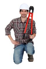 Crouching worker