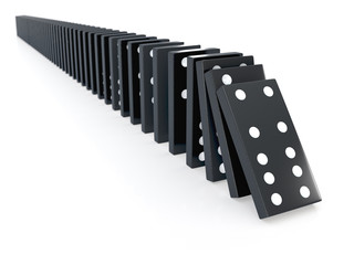 3d Black chain of dominoes