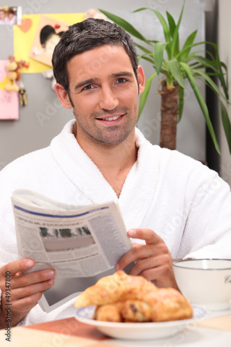 Breakfast with the newspaper