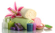 towels with lily, aroma oil,  candles, soap and sea salt
