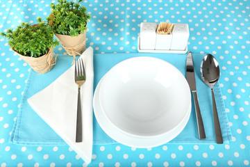 Table setting for breakfast