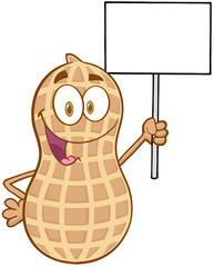 Peanut Cartoon Mascot Character Holding Up A Blank Sign