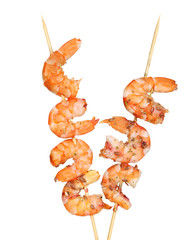 Grilled shrimp with spices  isolated on white