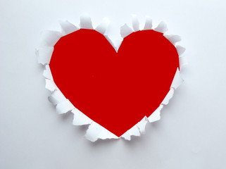 Beautiful torn paper in heart shape symbol