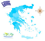 Map of Greece, regions and departments