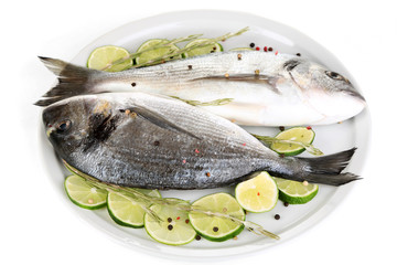 Two fish dorado with lemon on plate isolated on white