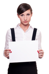 Sad businesswoman with a blank sheet of paper in her hands