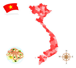 Map of Vietnam, regions and departments