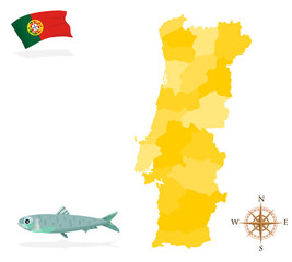 Map of Portugal, regions and departments